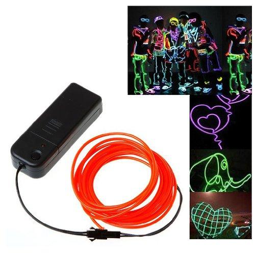TOOGOO(R) 3M flexible Neon Neonlicht Beleuchtung EL Wire EL Kabel ideal fuer Weihnachtsfeiern, Rave-Partys, Halloween-Kostuem oder einem Einzelhandelsgeschaeft Display mit Controller (Rot)