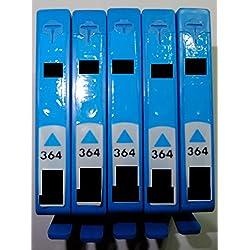 5x Druckerpatrone HP 364 cyan blau Refill für HP Drucker mit Chip Deskjet 3070A e-All-in-One 3520 e-All-in-One 3522 e-All-in-One Officejet 4610 4620 e-All-in-One 4622 e-All-in-One Photosmart 5510 e-Al