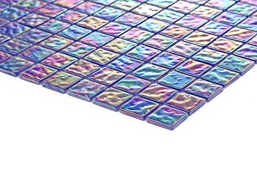 10x10cm Muster. Glas Mosaik Fliesen Muster Violett mit mehrfarbigem Schimmer MT0042 Muster - 4 Violetten Schimmer