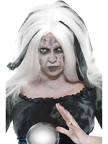 Kostüm Zubehör Perücke Hexe böse Wahrsagerin weiß-grau Halloween