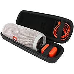 Khanka Portable Etui de voyage Housse pour JBL Charge 3 Waterproof Portable Wireless Bluetooth Speaker. Extra Room For Charger and USB Cable (black)