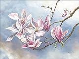 Artland Qualitätsbilder I Wandtattoo Wandsticker Wandaufkleber Tanja Kowak Magnolienzweig Botanik Blumen Magnolie Malerei Pink/Rosa A5OM