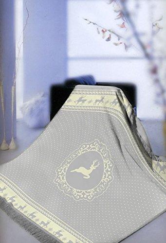 Decke Wohndecke mit Fransen Spieldecke Kinderdecke Kuscheldecke mit REH Motiv in Grau Creme Größe...