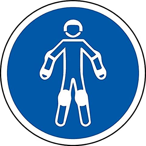 ISO Safety Label Sign - International Wear protective sport equipment Symbol - Self adhesive sticker 50mm Diameter
