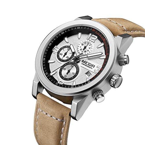 megir Männer Sport Uhren wasserdicht Quarz Datum Uhr Mode Casual Armband Leder Männer Armbanduhr, brown-white