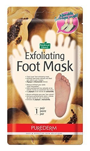 Purederm Exfoliating Foot Mask Papaya & Chamomile Extract -Sock type Foot Exfoliating Mask - Perfectly Peel Away Calluses and Dead Skin Cells in Just 2 Weeks!!! - 1 Pair Test