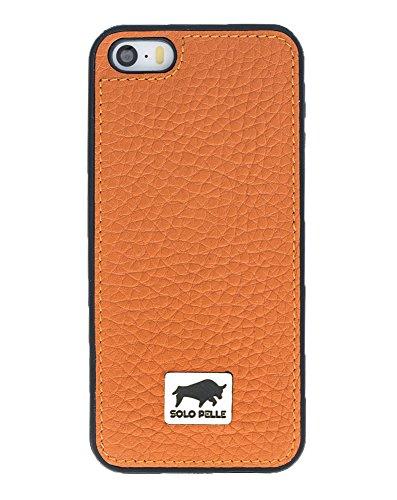 """Solo Pelle Iphone SE / 5 / 5S Case Lederhülle Ledertasche Backcover """" Flex """" aus echtem Leder (Floater Taupe) inkl. hochwertiger Geschenkverpackung Floater Orange"""