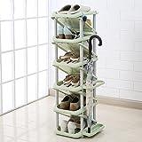 Schuhregal Y-Yang Schuhständer Schuhe Rack 6 Schichten Kunststoff Haushalt Hotel Regenschirm Lagerregal Einfache platzsparende Kleine Tür Shoe Stand (Farbe : Light Green)