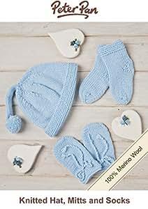 Peter Pan 100% laine mérinos Bonnet, Gants et chaussettes-Bleu-Kit à Tricoter