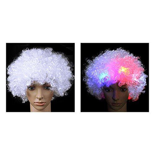 Eastlion Led Licht Afro Perücke Wilde Curl Up Party Bevorzugungen Halloween Abendkleid Dekorative Weiß (Halloween Hair Extensions)
