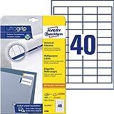 Avery Zweckform 4780 Universal Etiketten (mit ultragrip, 48,5 x 25,4 mm auf DIN A4, Papier matt, bedruckbar, selbstklebend, 1.200 Klebeetiketten auf 30 Blatt) weiß