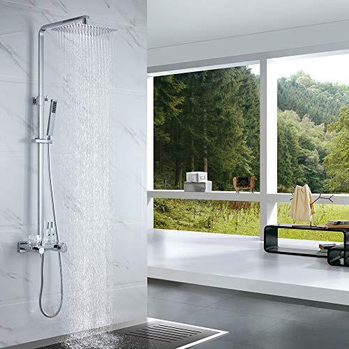 Amazon Marke: Umi. Essentials Duscharmatur mit Thermostat Duschsystem Regendusche Duschset mit Handbrause und Duschkopf Kopfbrause Rainshower Duschregal
