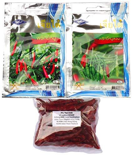 120 x Bird Pepper Samen 90 x Bird Chilli Samen + 30g getrockneter Thai Chilli aus dem Isaan Nordthailand Ban Nong Saeng