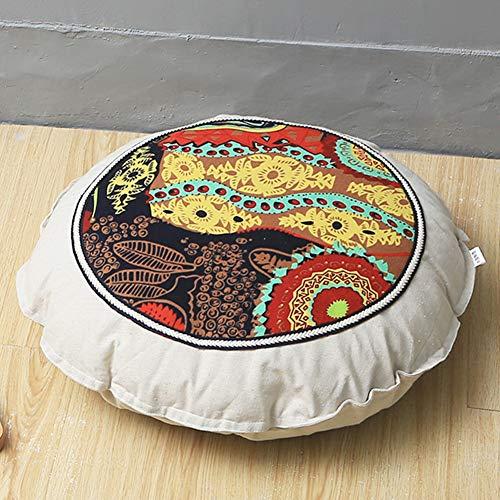 YANNI 55cm Runde Form Bodenkissen, Bettwäsche Aus Baumwolle Abnehmbare Sitzkissen Pad Für Yoga Tatami Boden Fenster Stuhl-Matte-n 55cm(22inch)