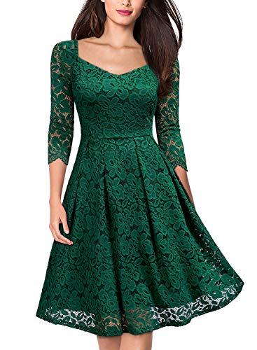 MISSMAY Damen Vintage 1950er 3/4 Arm Herzform Abendkleid Cocktailkleid Spitzen Schwingen Pinup Rockabilly Kleid Grün M