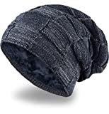 Grin&Bear Long Slouch Beanie Grobstrick Mütze mit Teddy Fleece gefüttert blau M11-7