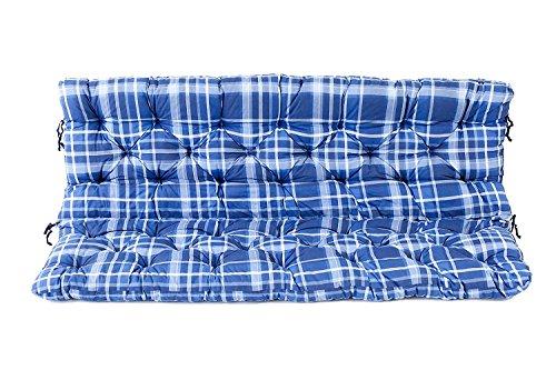Ambientehome 3er Bank Sitzkissen und Rückenkissen Hanko, kariert blau, ca 150 x 98 x 8 cm,...