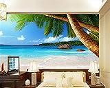 BYUVZHJ Fond d'écran HD Bord de mer cocotier Plage TV Fond Mur Salon Chambre Fond 3D Fond d'écran @ 200 * 140CM