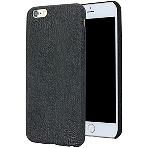 El iPhone 6 Más caso para el iPhone 6 Plus/iPhone 6s Plus(5,5-pulgadas), Forito patrón Denim Slim Carcasa trasera de cuero pu para iPhone 6 Plus y iPhone 6s Plus Volver Caso resistente a arañazos (Serie Denim PU negro)
