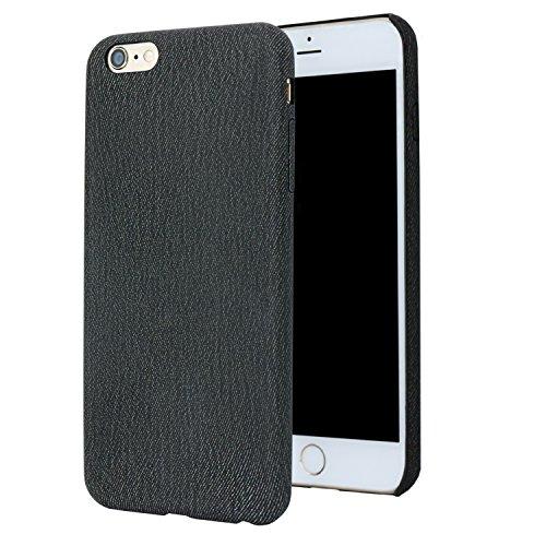 IPhone 6 custodie per iPhone 6 e iPhone 6S(4,7 pollici), Forito Slim modello Denim pelle PU indietro custodia per iPhone 6 e iPhone 6s antigraffio in case posteriore (serie Denim PU nero)