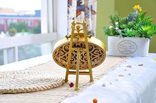NIKKY HOME Tischuhr mit Staffelei-Quarz-analoge Vintage Design Schreibtisch und Regal für Wohnzimmer Badezimmer Dekoration Metall Oval Distressed Gold Finish