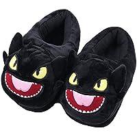 Pantofola interna calda invernale - Peluche Soft Peluche Funny Cartoon Kitty e Dragon Pantofole - Per Adulti Bambini Adolescenti caldo Home Slipper - Dragon Flame (nero Cartoon drago)