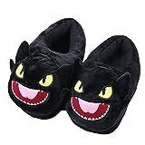 Chausson intérieur à l'hiver chaud - Cosy Soft Plush Funny Cartoon Kitty et Dragon Slippers - Pour adultes Enfants Teens warm Home Slipper - Dragon Flame (Noir Dragon de dessin animé)