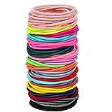 100 Count Elastic Hair Ties Ponytail Holders No Metal Multicolor Girls Hair Elastics (3.5 x 0.2 cm)