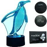InnoWill Pinguin Deko Dekoration Geschenk LED Lampe USB und batteriebetriebene 7Colors