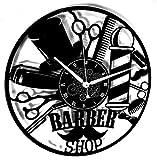 Horloge murale en vinyle vintage salon de coiffure fait à la main moderne Design barbe beauté homme