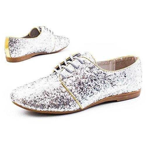 Damen Sneaker Schnür Tanz Karneval Party Schuhe im hammer Glitzerlook Silber