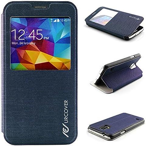 Urcover® Samsung Galaxy S5 | View Case Funda Protectora | Cross Pattern en Azul Obscuro | Carcasa Protección Completa Case Cover Smartphone Móvil Accesorio + PELÍCULA PROTECTORA