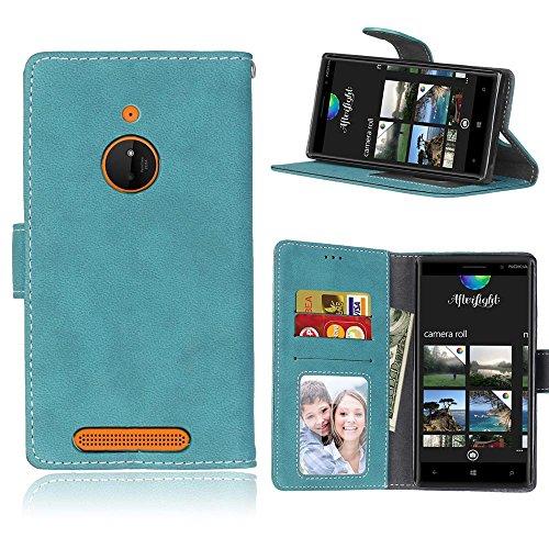 MAXJCN Telefonkasten Für Nokia Lumia 830, Retro Stil Einfarbig Premium PU Leder Brieftasche Fall Flip Folio Schutzhülle Abdeckung Mit Kartensteckplatz/Ständer, Modisch langlebig. (Farbe : Blau) - Nokia Fall 830 Lumia Geldbörse
