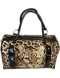 Damen Trend XL Handtasche Shopper Lion Braun /Schwarz