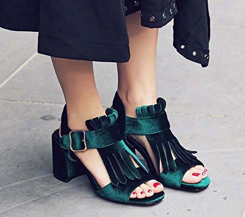 L&Y Pompa di punta di punta Stivaletto in pelle scamosciata con cinturino Sandali con tacco alto Slingback per le donne Verde