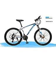 ZYPMM bicicleta de montaña de ciclo 27 (24) (21) Velocidad de 26 pulgadas / 700CC neutral estudiantes adultos SHIMANO freno de disco marco de aluminio percha tenedor común / estándar ( Color : WHITE BLUE , UnitCount : 21 )