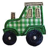 TrickyBoo 2 Aufbügler Traktor 7X7cm Blumen Rund 7X7cm Set Aufnäher Flicken Applikationen zum Ausbessern von Kinder Kleidung mit Design Zürich Schweiz für Deutschland und Österreich