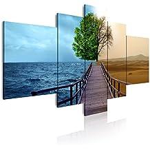 DEKOARTE 127 - Cuadro moderno en lienzo de 5 piezas, naturaleza paisaje dividido en mar y desierto, 180x85cm