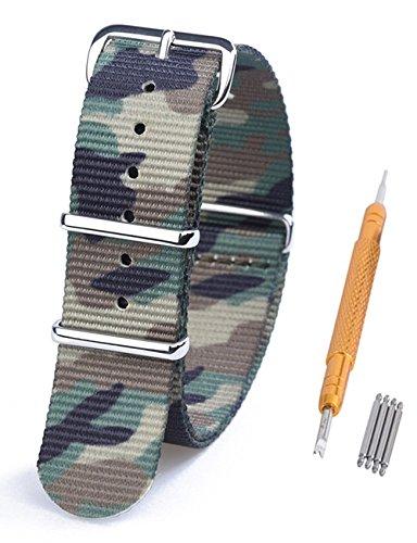 Randon Bandes Montre Nato Bracelet de montre en nylon balistique Avec Boucle En Acier Inoxydable, vert camouflage, 22 mm