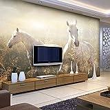 Yosot Weißes Pferd Auf Der Wiese Wohnzimmer Hintergrund 3D Tapeten Wandbild Foto 3D-Wand-300Cmx210Cm