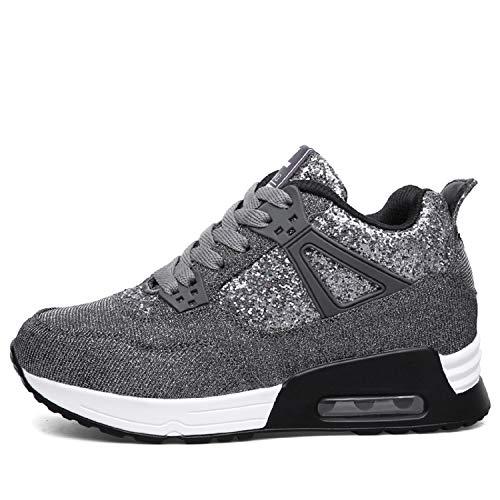 AONEGOLD Sneakers Zeppa Interna Donna Scarpe da Ginnastica Fitness Basse Tacco 7 cm(Grigio Scuro,37 EU)