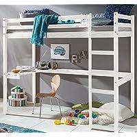Preisvergleich für ravzamoebel-24 Kinderbett Hochbett Dennis Etagenbett mit Schreibtisch massiver Kiefer 90x200 cm (Weiß)