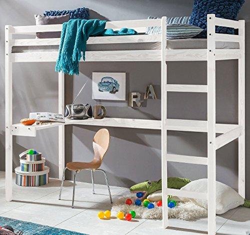 Kinderbett Hochbett DENNIS Etagenbett mit Schreibtisch massiver Kiefer 90x200 cm (Weiß)