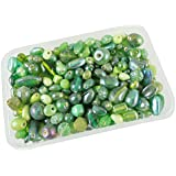 [Sponsored]eshoppee 100 Gm Handmade Fancy Furnace Glass Bead Beads For Jewellery Making Art And Craft DIY Kit (Green, 100 Gm)