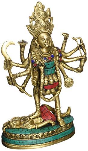 Exotic India Göttin Kali die meisten Shakti-Messing Statue mit Einlage