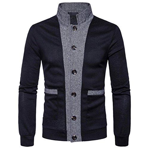 Luckycat Herren Herbst Winter Patchwork Stehen Hals Sweatshirt Tops Bluse Sweatshirt Tops Jacke Mantel Outwear (Schwarz, EU 52-XL)