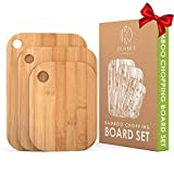 Oliver's Kitchen - 3 x Set of Wooden Chopping Boards - Different Sizes for Every Occasion - Beautifully Designed, Durable & Hard Wearing - 100% Natural Organic Bamboo Cutting Boards - Easy to Clean