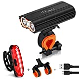 RYACO Bike Light, USB Rechargeable Bicycle Lights Headlamp Front Lamp Set with 2x