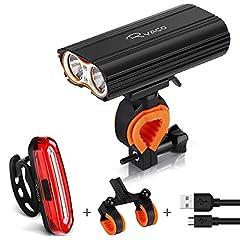 Idea Regalo - RYACO Luci per Bicicletta, Luci Bicicletta LED Ricaricabili USB, 2400 lumens 4 modalità, Luce Bici Anteriore e Posteriore Super Luminoso Luce Bici LED per Bici Strada e Montagna- Sicurezza per Notte