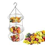 su-luoyu Hängekorb Obstkorb 3 Schicht Küche Obst Aufbewahrung Körbe, Edelstahl Obstkorb Zum Hängen, Stylischer Früchtekorb | Obstschale mit 3 Ablagekörbe